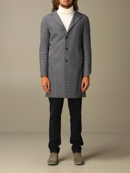Eleventy single-breasted coat in herringbone wool