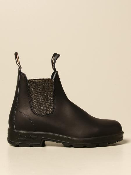Blundstone: Blundstone ankle boot in rubberized leather with elastic lurex bands