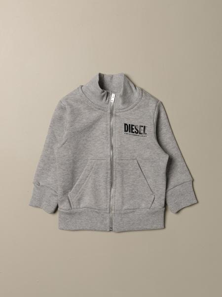 Diesel sweatshirt in cotton with zip and logo