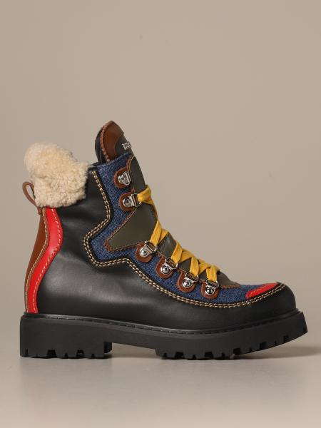 Trekking boot Dsquared2 in leather and denim