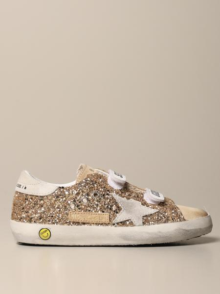 Golden Goose bambino: Sneakers Old School Golden Goose in camoscio e glitter