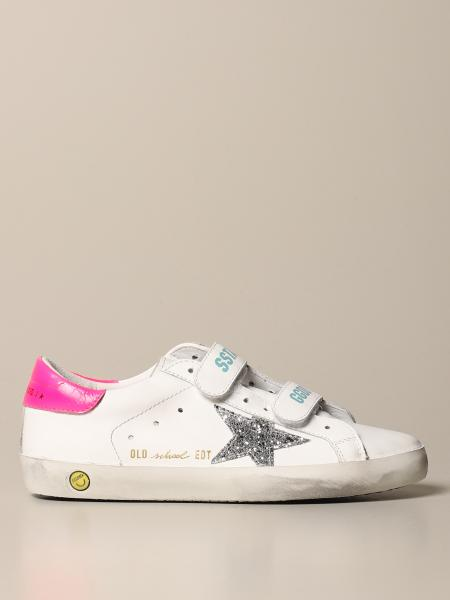 Golden Goose bambino: Sneakers Old School Golden Goose in pelle con stella glitter