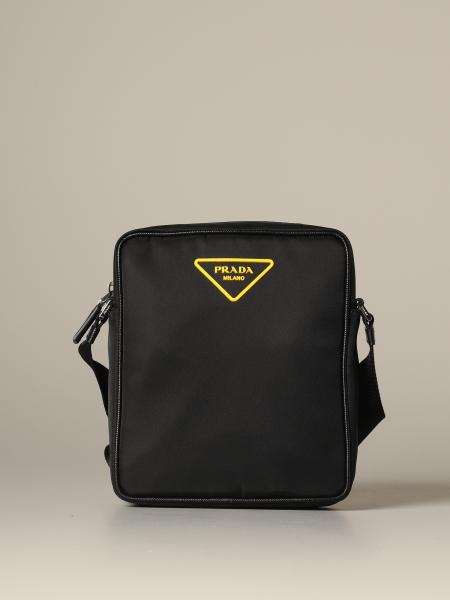 Prada nylon bag with triangular rubber logo