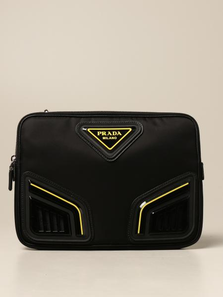 Prada nylon shoulder bag with rubber logo