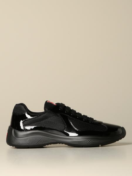 Prada patent leather and technical fabric sneakers