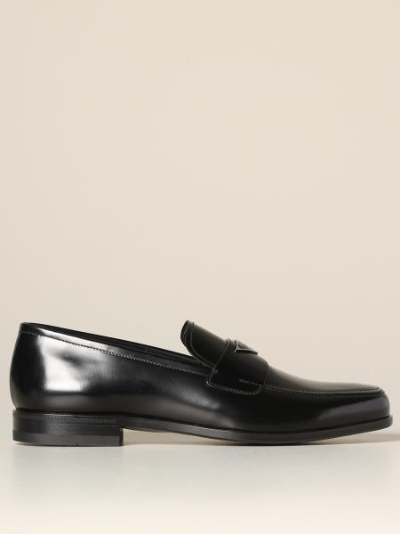 Prada moccasin in brushed leather with triangular logo