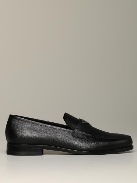 Prada moccasin in saffiano leather with triangular logo