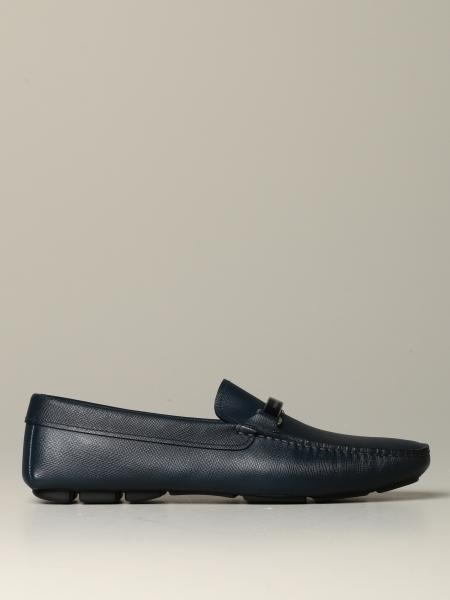 Prada label moccasin in saffiano leather