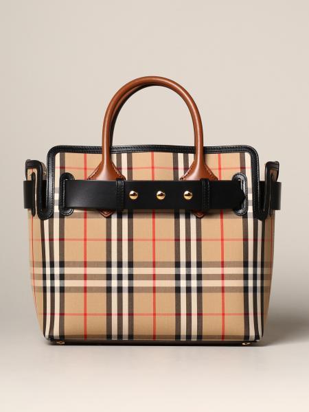 Burberry Handtasche aus kariertem Canvas und Leder