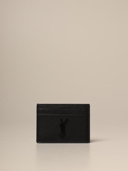 Saint Laurent credit card holder in grain de poudre leather