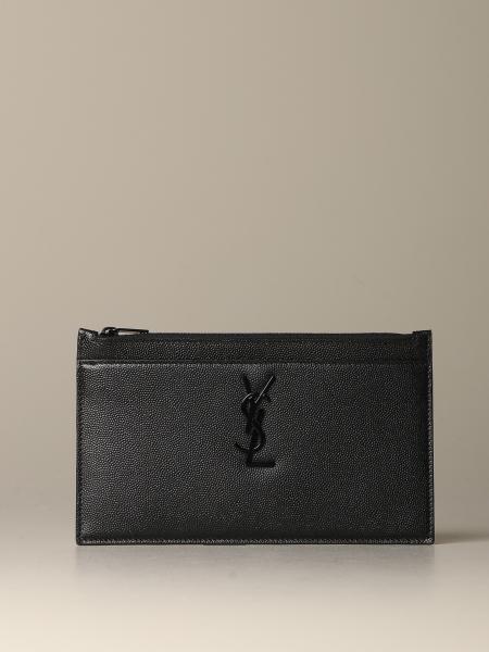 Pochette Saint Laurent Monogram en cuir grain de poudre