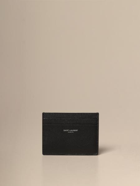 Saint Laurent credit card holder in leather with logo