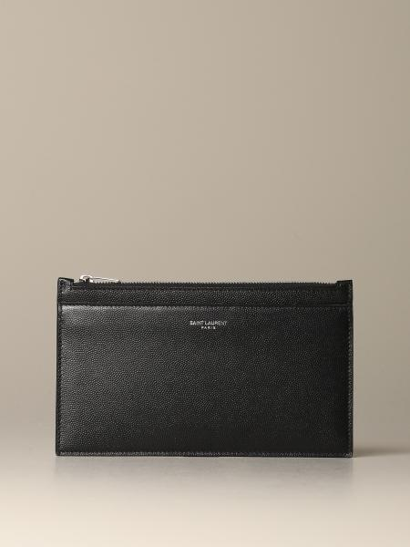 Saint Laurent clutch in grain de poudre leather