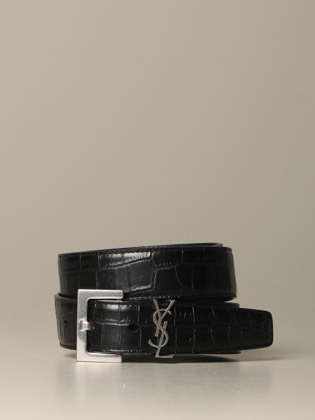Saint Laurent leather belt with crocodile print