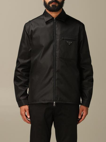 Prada zip-up jacket in recycled nylon with triangular logo
