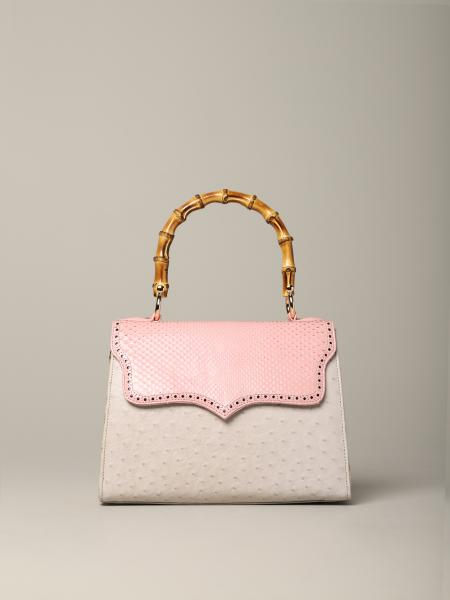 Tarì Rural Design small Pink Cream Bag in python and ostrich leather