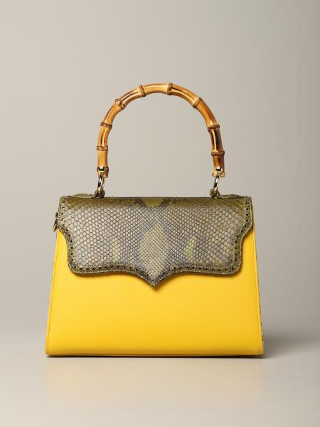 Tarì Rural Design Yellow Green Small Bag in python leather