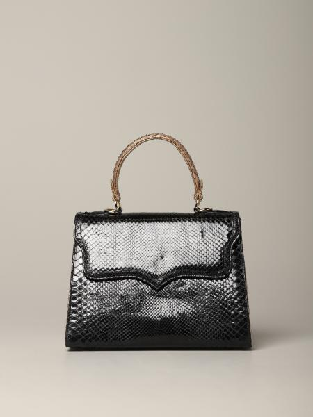 Small Black Tarì Rural Design bag in python leather