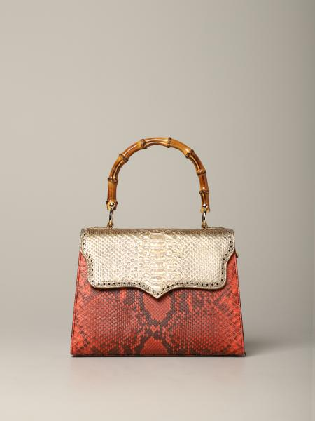 Gold Tarì Rural Design Small Red bag in python leather