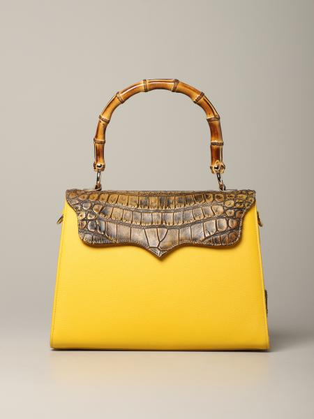 Tarì Rural Design Large Yellow bag in crocodile leather