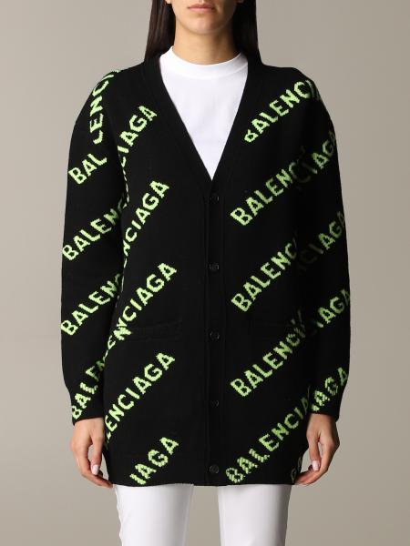 Balenciaga oversize cardigan in wool with all over logo