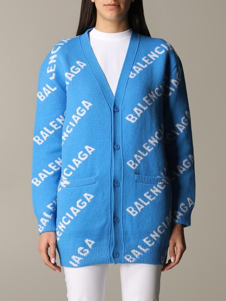 Cardigan Balenciaga over in lana con logo all over