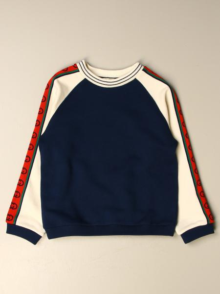 Gucci cotton sweatshirt with logoed bands