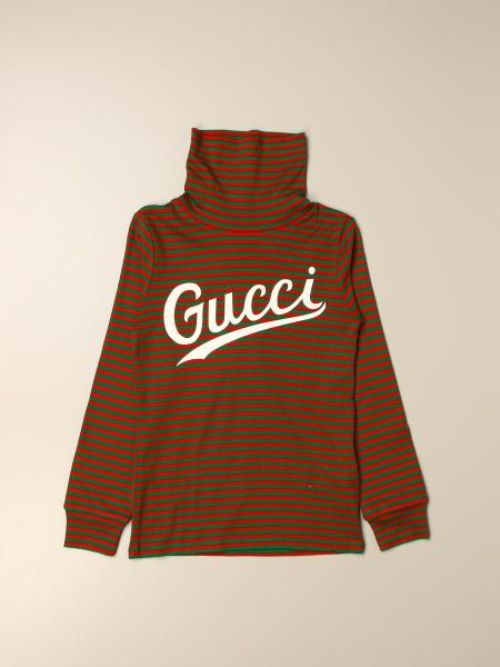 Gucci kids: Gucci turtleneck in striped jersey with logo