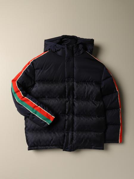 Gucci nylon down jacket with Web bands and Gucci logo