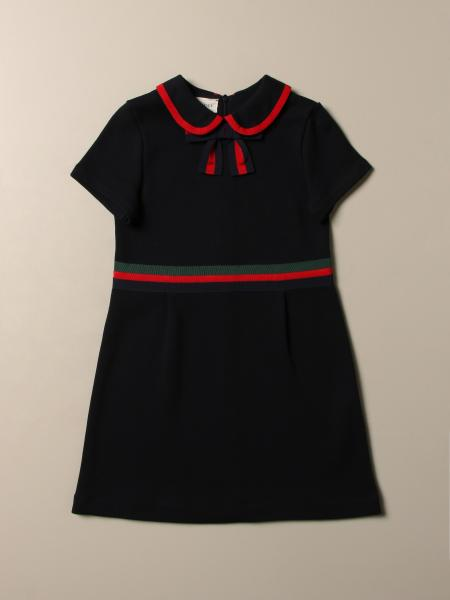 Gucci polo dress in cotton jersey with bow and Web bands