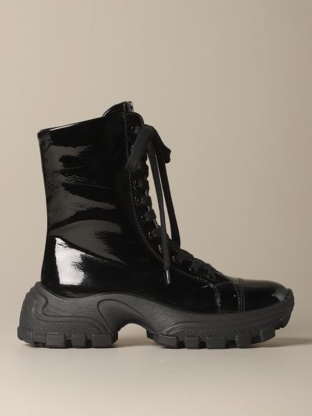 Miu Miu Combact boot in tech patent leather