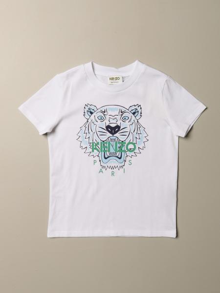 T-shirt Kenzo Junior in cotone con logo Tiger Kenzo Paris