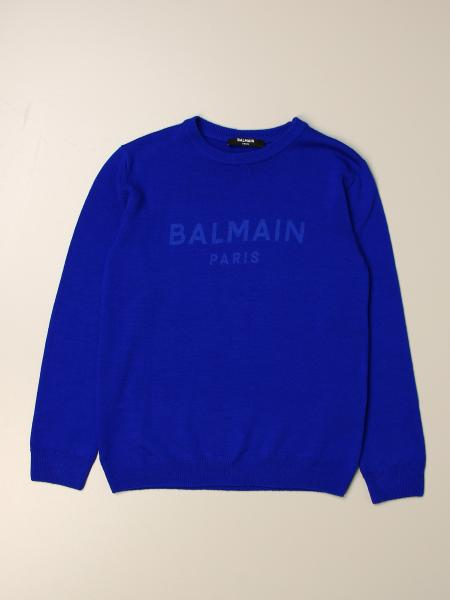 Balmain: Balmain basic crewneck sweater with logo