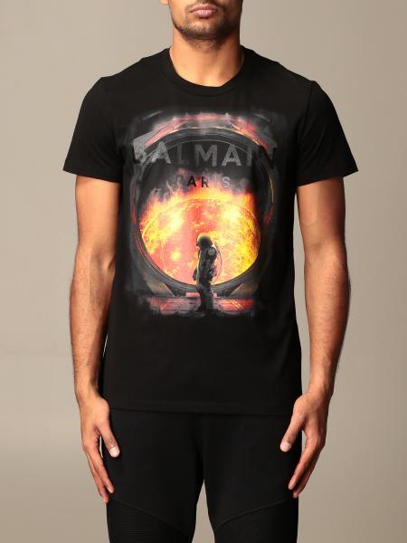 Balmain cotton T-shirt with logo and print