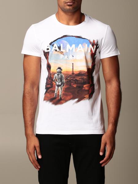 Balmain: Balmain cotton t-shirt with astronaut print