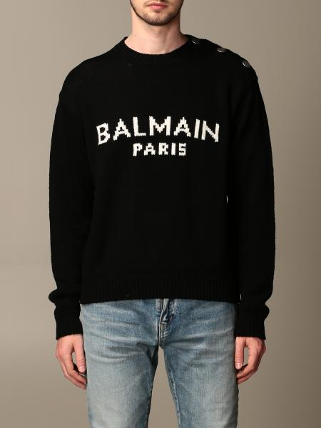 Balmain pullover with jacquard logo and buttons