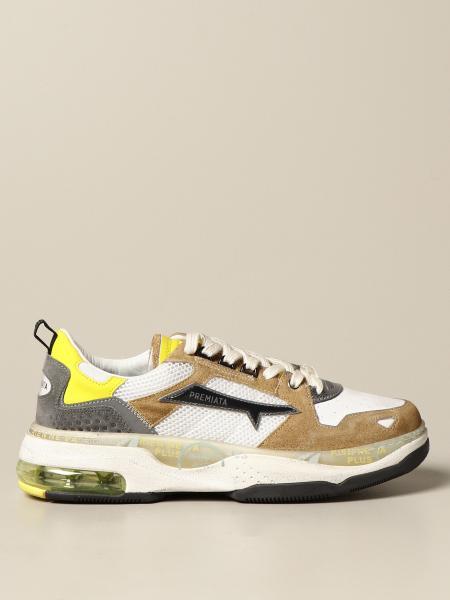 Premiata men: Drake Premiata sneakers in suede and mesh