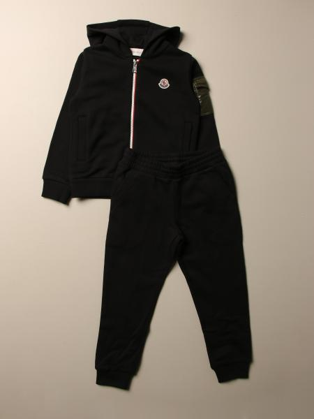 Moncler sweatshirt + pants set in cotton with logo