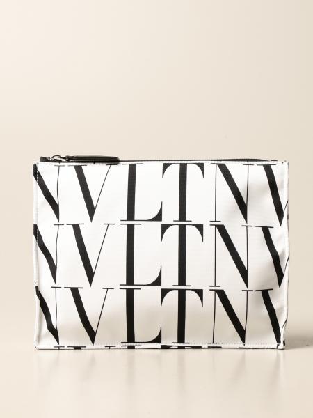 Valentino Garavani canvas clutch bag with all-over VLTN logo
