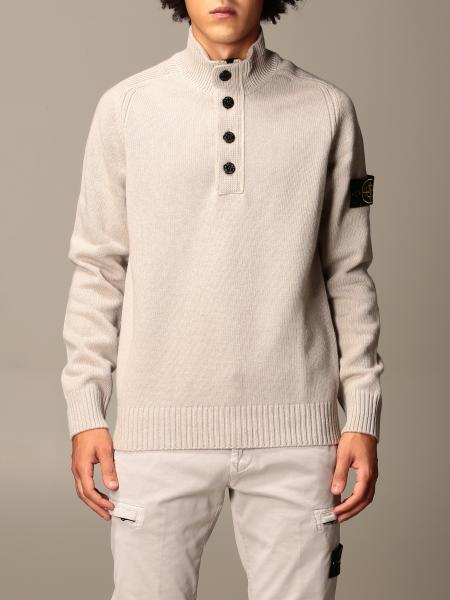 Stone Island pullover in lamb wool blend with buttons