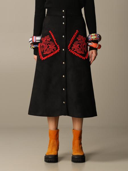 Stella Jean: Stella Jean midi skirt with embroidered pockets