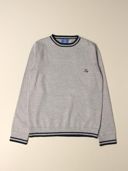 Fay: Fay crewneck sweater with striped edges