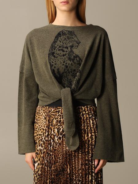 Roberto Cavalli: Girocollo lana e cachemire jacquard giaguaro con nodo