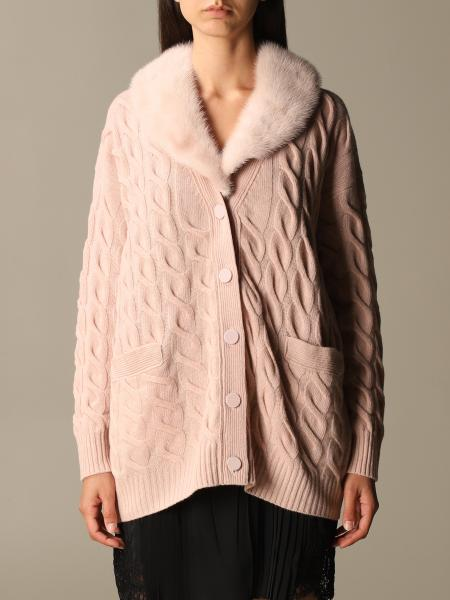 Blumarine: Cashmere and wool braided cardigan with mink