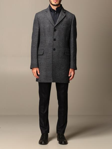 Benjamin Fay coat in check wool with vest