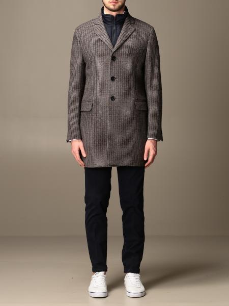 Cappotto Benjamin Fay in lana pied de poule con gilet