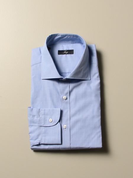 Fay shirt with French collar in fil a fil cotton