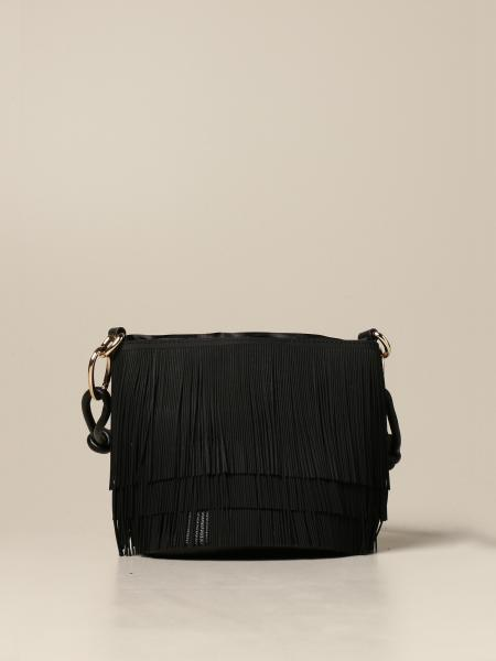 Gum bucket bag in synthetic leather with fringes