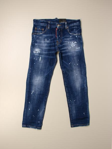Jeans Rundan Dsquared2 Junior in denim used con rotture e spruzzature