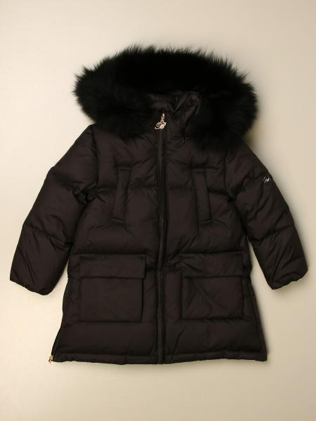 Miss Blumarine nylon down jacket with fur trim